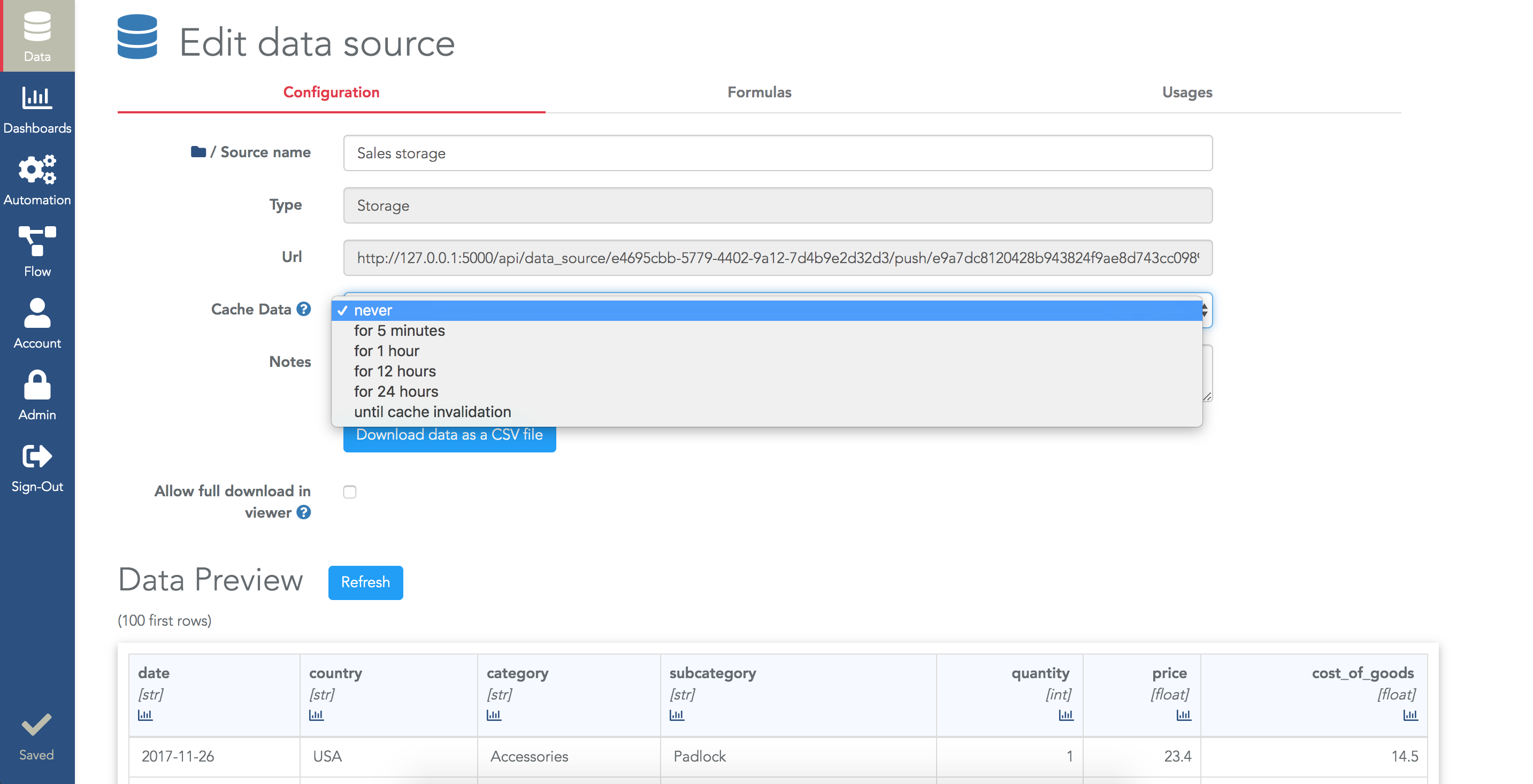 Configure the cache of a datasource