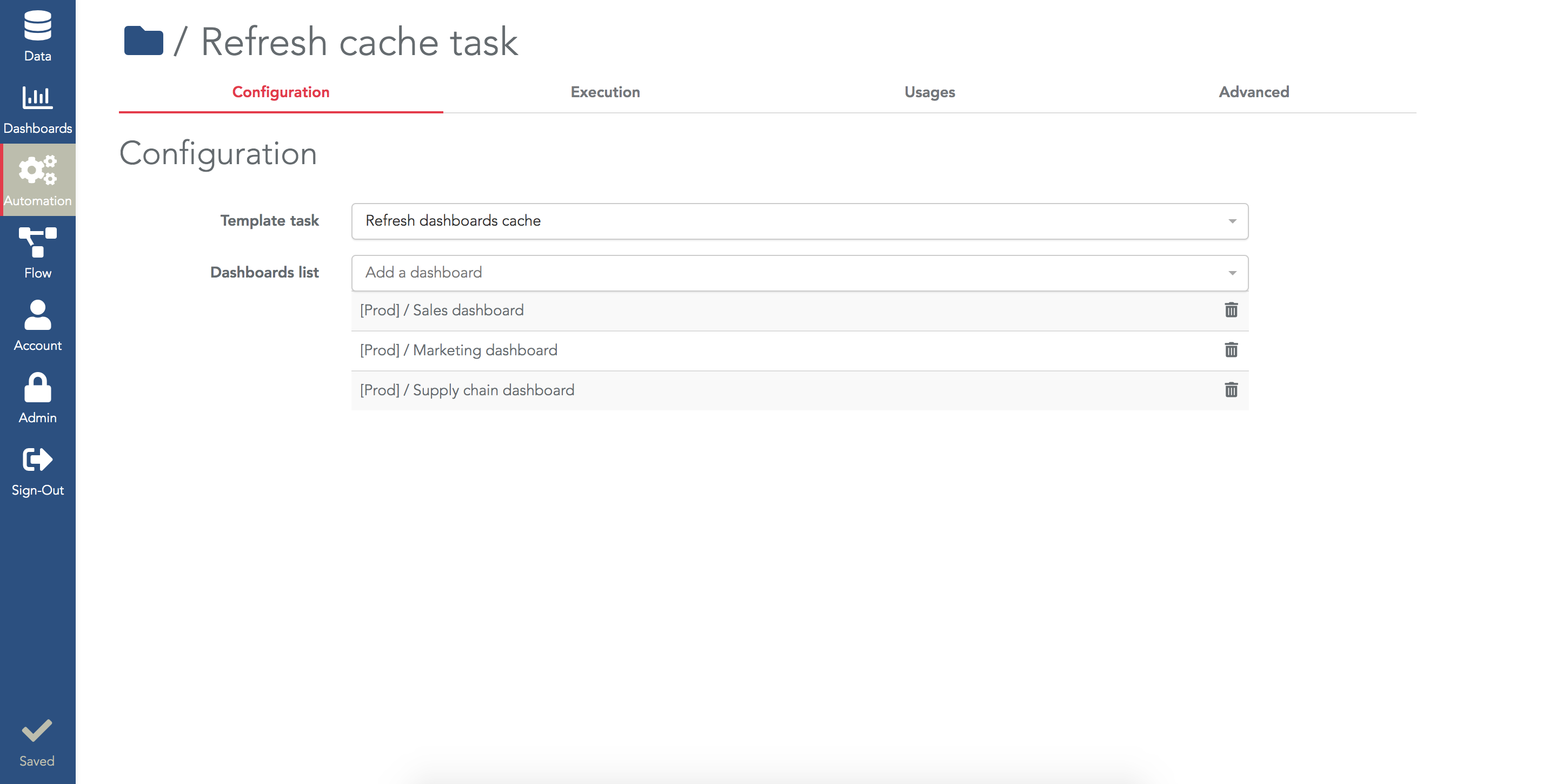 Configure the reload cache task